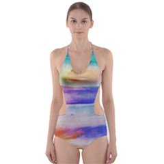 Background Color Splash Cut Out One Piece Swimsuit