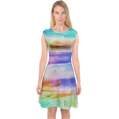 Background Color Splash Capsleeve Midi Dress