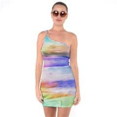 Background Color Splash One Soulder Bodycon Dress by goodart