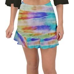 Background Color Splash Fishtail Mini Chiffon Skirt by goodart