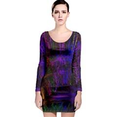 Color Splash Trail Long Sleeve Bodycon Dress