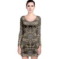 I Am Big Cat With Sweet Catpaws Decorative Long Sleeve Bodycon Dress