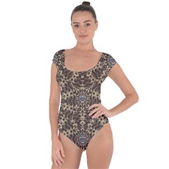 I Am Big Cat With Sweet Catpaws Decorative Short Sleeve Leotard
