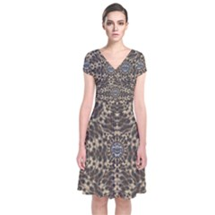I Am Big Cat With Sweet Catpaws Decorative Short Sleeve Front Wrap Dress