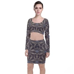I Am Big Cat With Sweet Catpaws Decorative Long Sleeve Crop Top & Bodycon Skirt Set