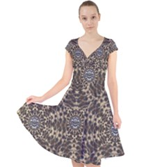 I Am Big Cat With Sweet Catpaws Decorative Cap Sleeve Front Wrap Midi Dress