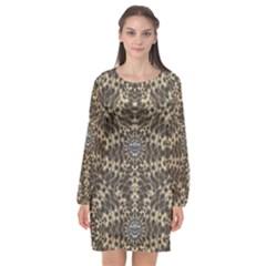 I Am Big Cat With Sweet Catpaws Decorative Long Sleeve Chiffon Shift Dress
