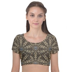 I Am Big Cat With Sweet Catpaws Decorative Velvet Short Sleeve Crop Top