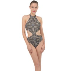 I Am Big Cat With Sweet Catpaws Decorative Halter Side Cut Swimsuit