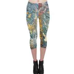 Colorful Abstract Texture  Capri Leggings