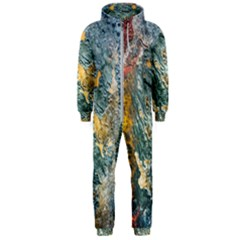 Colorful Abstract Texture  Hooded Jumpsuit (men)