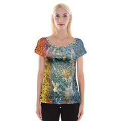 Colorful Abstract Texture  Cap Sleeve Tops