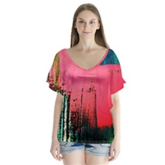 Humidity 12 V Neck Flutter Sleeve Top