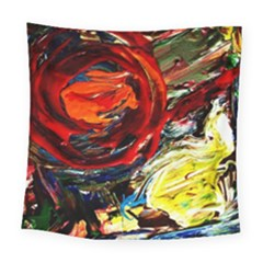 Sunset In A Mountains Square Tapestry (large)