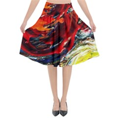 Sunset In A Mountains Flared Midi Skirt