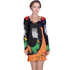 Eyes Makeup Human Drawing Color Long Sleeve Nightdress