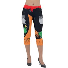 Eyes Makeup Human Drawing Color Lightweight Velour Capri Leggings