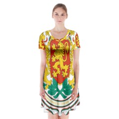 Coat Of Arms Of Bulgaria Short Sleeve V Neck Flare Dress