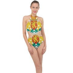 Coat Of Arms Of Bulgaria Halter Side Cut Swimsuit