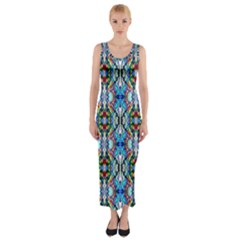 Artwork By Patrick Colorful 34 Fitted Maxi Dress