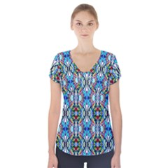 Artwork By Patrick Colorful 34 Short Sleeve Front Detail Top