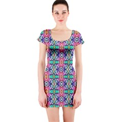 Artwork By Patrick Colorful 34 1 Short Sleeve Bodycon Dress