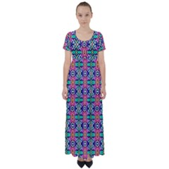 Artwork By Patrick Colorful 34 1 High Waist Short Sleeve Maxi Dress