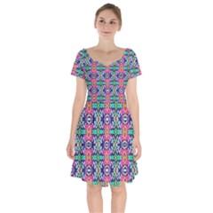 Artwork By Patrick Colorful 34 1 Short Sleeve Bardot Dress