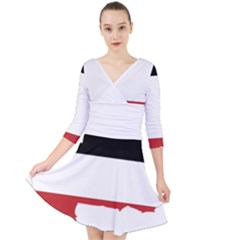 Flag Map Of Upper Volta Quarter Sleeve Front Wrap Dress
