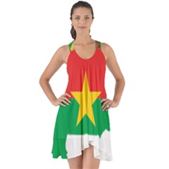 Burkina Faso Flag Map  Show Some Back Chiffon Dress