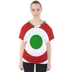 Roundel Of Burundi Air Force  V Neck Dolman Drape Top