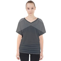 Gray Color V Neck Dolman Drape Top