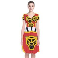 Coat Of Arms Of Burundi Short Sleeve Front Wrap Dress