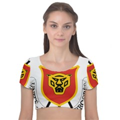 Coat Of Arms Of Burundi Velvet Short Sleeve Crop Top