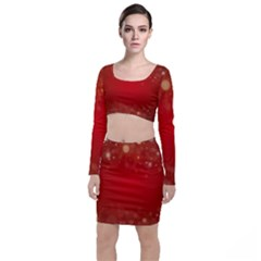 Background Abstract Christmas Long Sleeve Crop Top & Bodycon Skirt Set