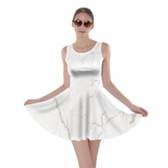 White Marble Tiles Rock Stone Statues Skater Dress
