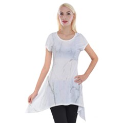 White Marble Tiles Rock Stone Statues Short Sleeve Side Drop Tunic by Simbadda