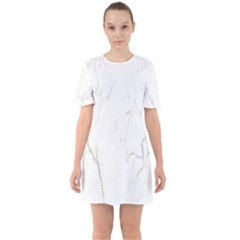 White Marble Tiles Rock Stone Statues Sixties Short Sleeve Mini Dress