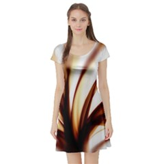 Digital Tree Fractal Digital Art Short Sleeve Skater Dress