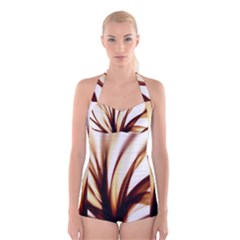 Digital Tree Fractal Digital Art Boyleg Halter Swimsuit