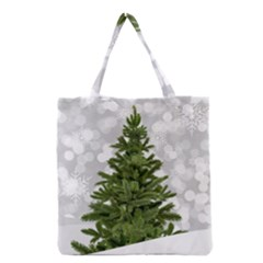 Christmas Xmas Tree Bokeh Grocery Tote Bag by Simbadda