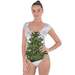 Christmas Xmas Tree Bokeh Short Sleeve Leotard  by Simbadda