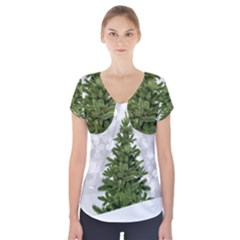 Christmas Xmas Tree Bokeh Short Sleeve Front Detail Top