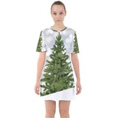 Christmas Xmas Tree Bokeh Sixties Short Sleeve Mini Dress