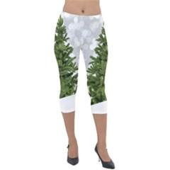Christmas Xmas Tree Bokeh Lightweight Velour Capri Leggings