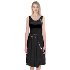 Black Marble Tiles Rock Stone Statues Midi Sleeveless Dress