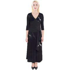 Black Marble Tiles Rock Stone Statues Quarter Sleeve Wrap Maxi Dress