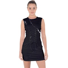 Black Marble Tiles Rock Stone Statues Lace Up Front Bodycon Dress