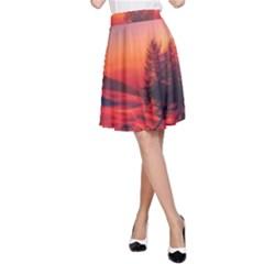 Italy Sunrise Sky Clouds Beautiful A Line Skirt