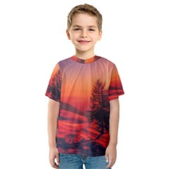 Italy Sunrise Sky Clouds Beautiful Kids  Sport Mesh Tee